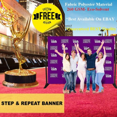 10x8 CUSTOM Step Repeat Banner Backdrop Printing Full Color FABRIC Photography