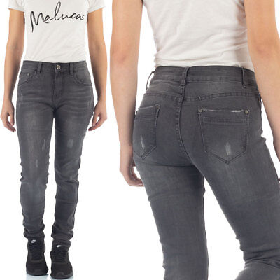 Malucas Damen Jeans Hose Mid Waist Gerades Bein Hose Straight Leg Denim Stretch - Straight Leg Hose Jean