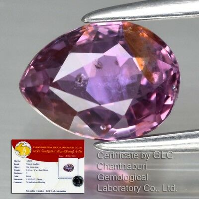 1.44ct 7.4x5.5mm Pear Natural Unheated Untreated Purple Sapphire *GLC Certified