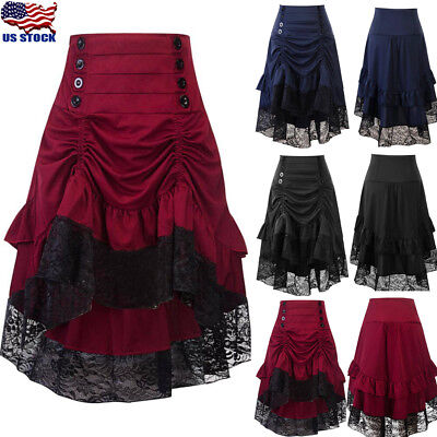 Plus Size Vintage Steampunk Gothic Lace Skirt Skirts Women Button Party Dress US