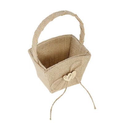 Rustic  Burlap Hessian Wedding Party Flower Girl Basket With Wood Heart New Z8P0](Burlap Basket)