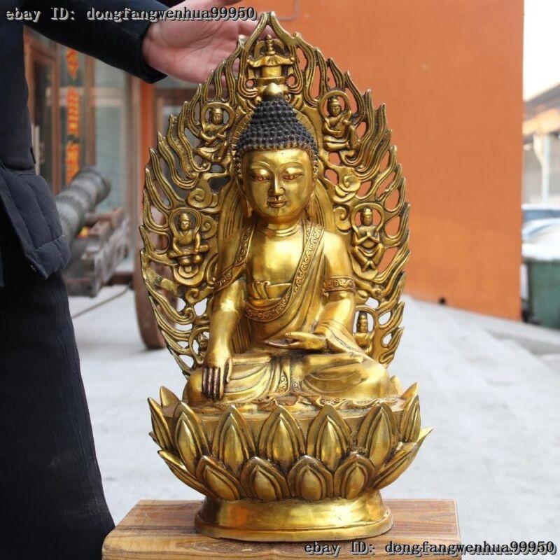 Tibet Buddhism Temple Copper Gild Shakyamuni Sakyamuni Amitabha Buddha Statue