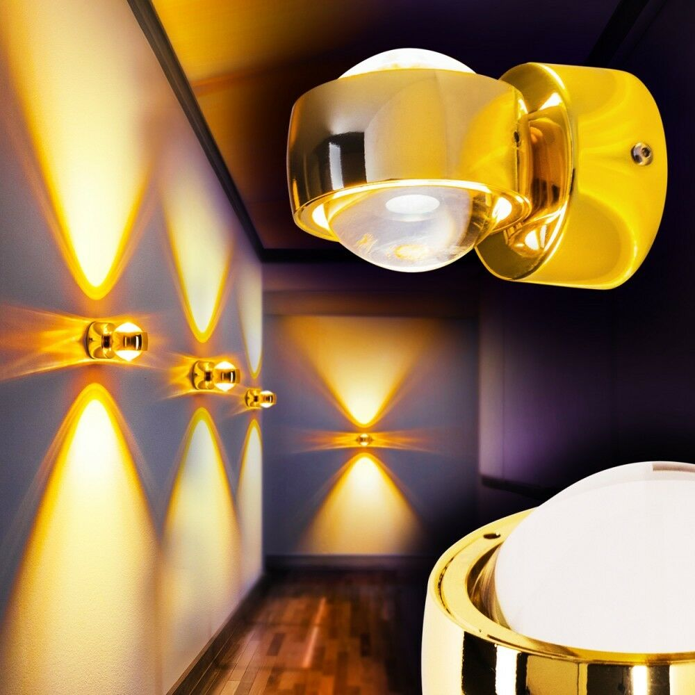 design wandleuchte led wandlampe wohnzimmer strahlers spot flurlampe goldfarbe eur 59 99. Black Bedroom Furniture Sets. Home Design Ideas