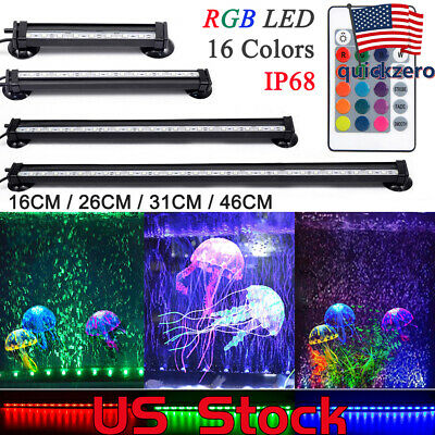 LED Aquarium Light Air Bubble Fish Tank Lamp RGB Waterproof Submersible 16-51CM - Bubble Fish Light