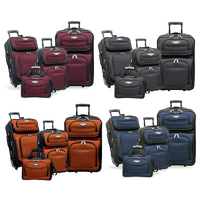 Amsterdam 4-Piece Light Expandable Rolling Luggage Suitcase Tote Bag Travel (Rolling Luggage Set)