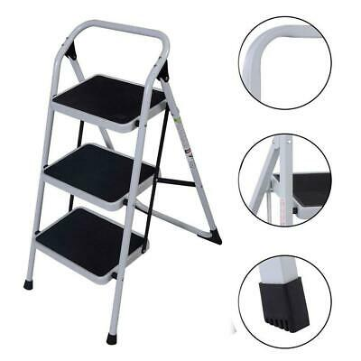 Protable 3 Step Ladder Folding Non Slip Safety Tread Heavy D