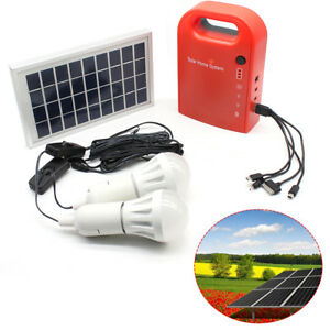 Solar Power Panel Generator System LED Light 12V USB Charger Home Outdoor Garden