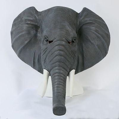 Asian Elephant Mask Full Head Unisex Gray Latex Cosplay Animal Halloween Masks