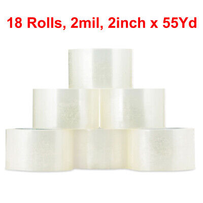 18 Rolls Carton Sealing Clear Packing Tape Box Shipping - 2 Mil 2 X 55 Yards