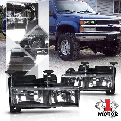Black Housing Headlight for 88-98 Chevy C10 C/K GMT400 Pickup Truck 1500/2500