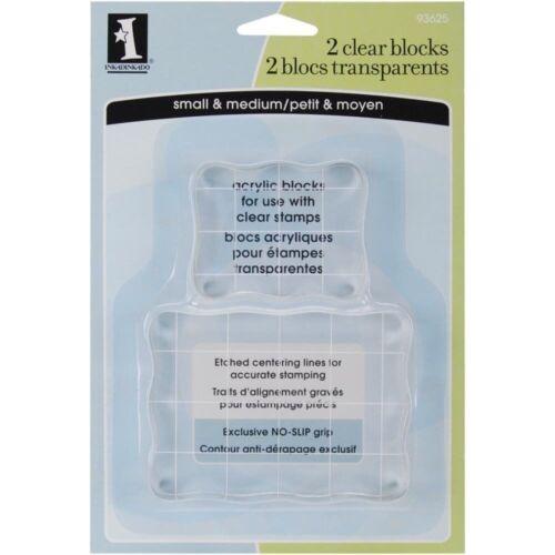 Inkadinkado Clear On Clear Acrylic Blocks 2/Pkg-Small 2.25X1