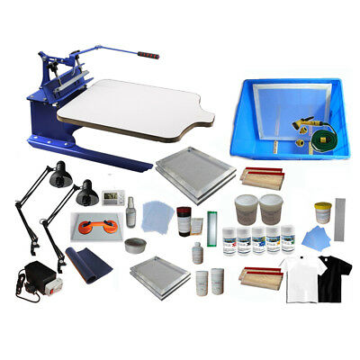 One Color Silk Screen Printing Kit Pallet Adjustable Press Exposure Unit