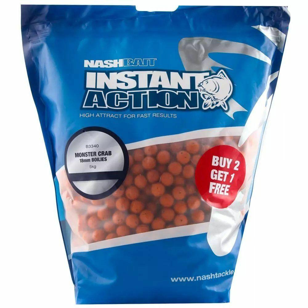 5kg 15mm Nash Instant Action Strwaberry Boilie Futterboilie Karpfenangeln