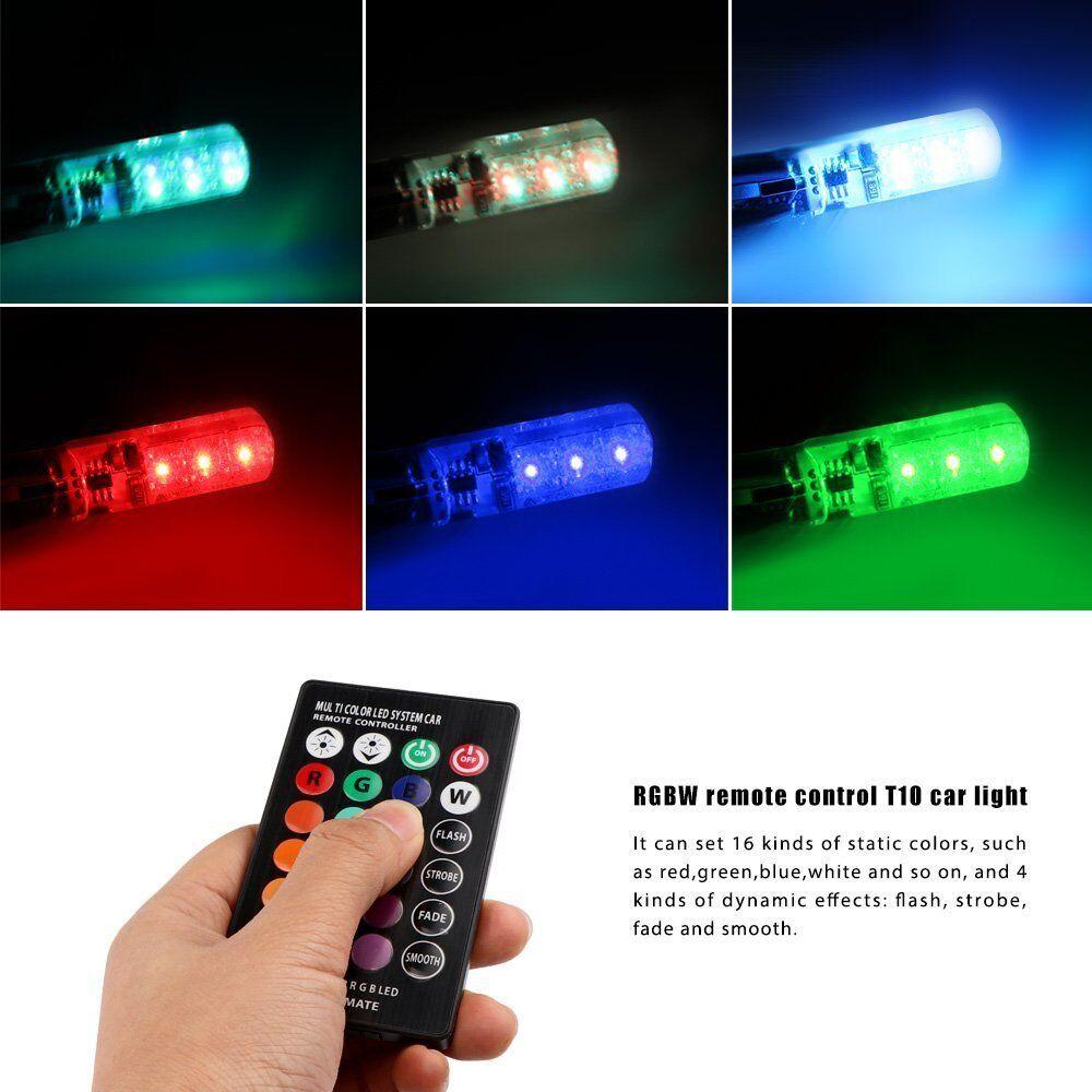 2x Led T10 Remote Control W5w 501 Rgb Color Changing Car