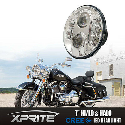 "7"" Round G4 60W CREE LED Chrome Headlight For Harley Davidson Motorcycle Bike"
