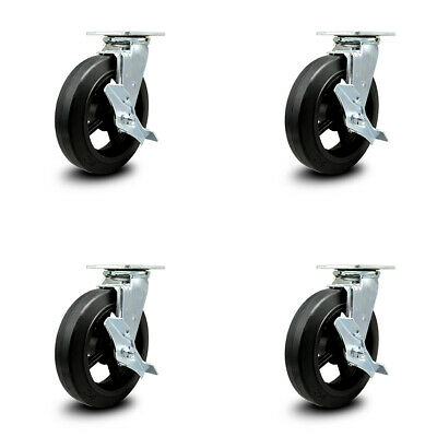 Rubber On Cast Iron Swvl Caster Set 4 W8 Wheel- 4 Swvl Wside Lock Brk Bsl