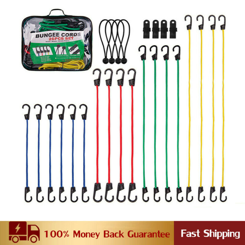 """26 Pieces Bungee Cords With Hooks 40"""" 32"""" 24"""" 18"""" Heavy Duty Bungie Cord Set"""