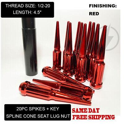 FIT CHEVROLET ASTRO VAN SPLINE SPIKE LUG NUT 4.5'' CONE SEAT 1/2-20 RED 20PC+KEY