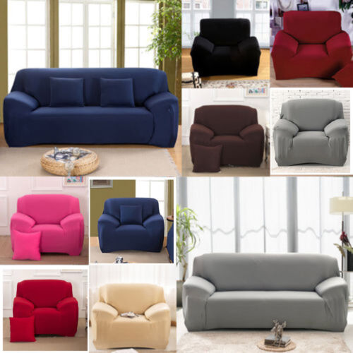 Pure Color Stretch Elastic Slipcover Sofa Protect Full Cover
