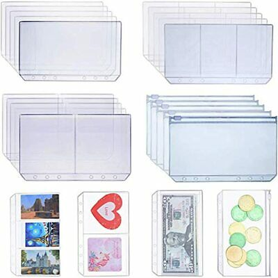 18 Pieces A6 Size Binder Pockets With Different Partitions Plastic Folders Leaf