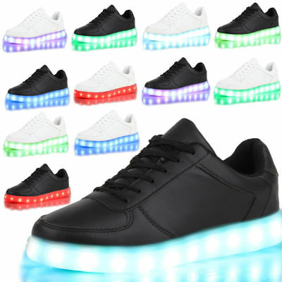 Hot Unisex 7 color LED Light Lace Up Sneaker Shoes USB rechargeable Low - Light Up Shoe