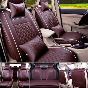 US 5-Seats Car Seat Cover PU Leather Front & Rear W/Neck Lumbar Pillow For Auto