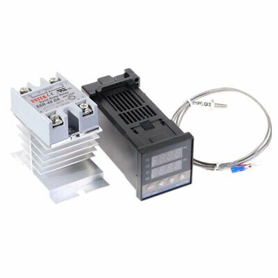 100-240vac Pid Rex-c100 Temperature Controller Ssr-40a Thermocouple Heat Sink