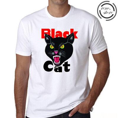 Black Cat Fireworks Logo Men's White T-Shirt Size S M L XL 2XL 3XL ()