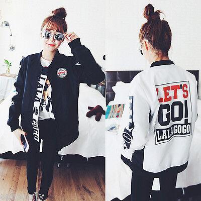 Fashion Women Korean Long Sleeve Coat Long Baseball Jacket Autumn Winter Tops