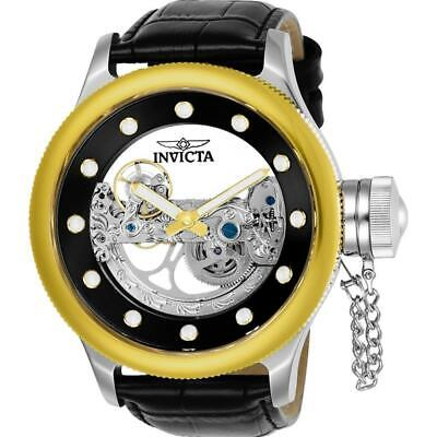 NEW Invicta Russian Diver 52MM Ghost Bridge Automatic Mens Leather Watch 24594