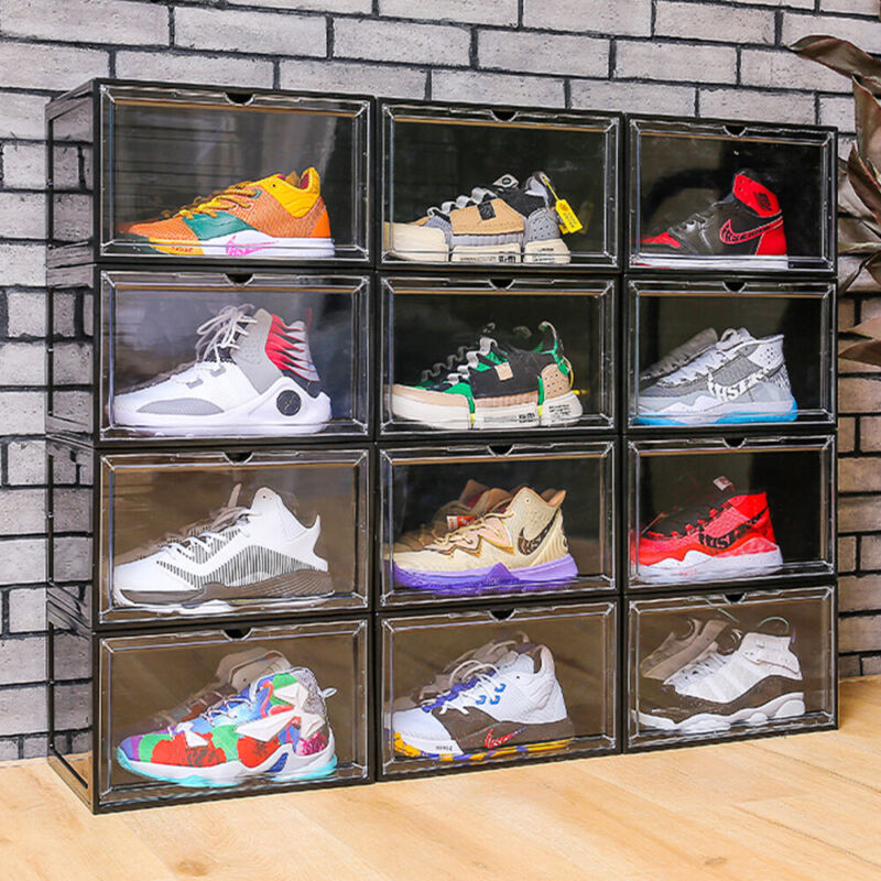2x 4x 8x Magnetic Drop Side Shoe Box Storage Containers Sneaker Display Cases
