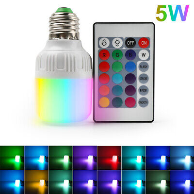 E27 5W RGB RGBW LED Light Bulb 16 Color Changing Lamp+IR Remote Control 85V-265V Color Changing Led Bulb