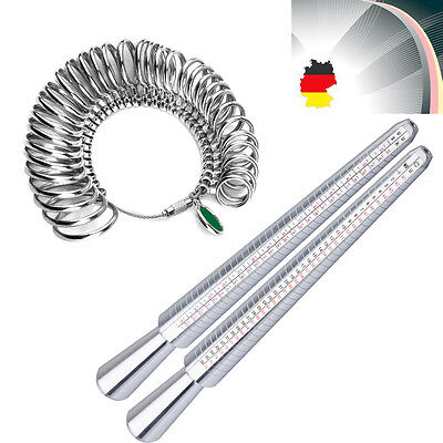 Silber Ringgröße Gauge Maßstab Ringstock Ringma?Finger Messgerät Set Aus DE WE