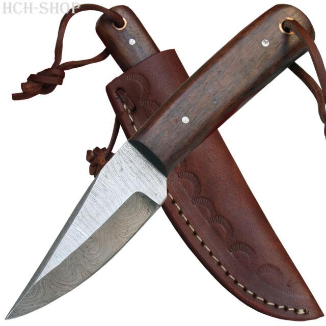 Haller kleines Damastmesser 256 Lagen mit Wurzelholz-Schalen inkl. Lederscheide
