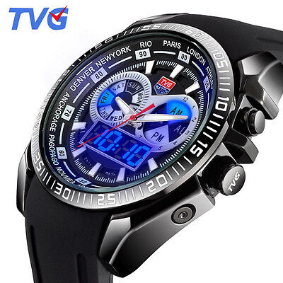 Brand Tvg Blue Led Digital Analog Quartz Watches Men Silicone Strap Spors Watch