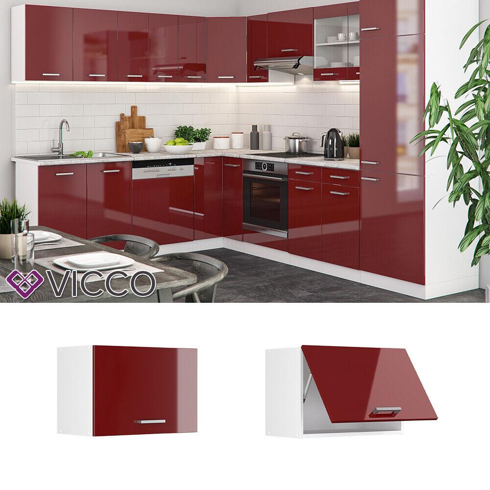 VICCO Küchenschrank Hängeschrank Unterschrank Küchenzeile R-Line Hängeschrank 60 cm (flach) rot