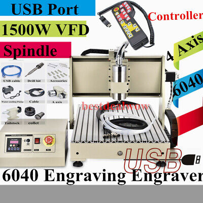 Usb 4 Axis Cnc 6040 Router Engraver 1.5kw Spindlevfd Engraving Machine Rc