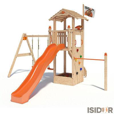 ISIDOR Dori Spielturm Kletterturm Rutsche Kletterwand 1,50 m Podesthöhe