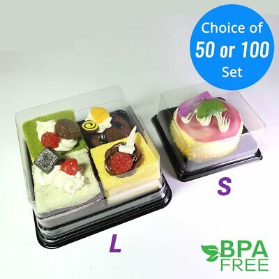 50/100 ct. Food-Safe PET Square Mini Cake Take Out Container Box For Parties](Takeout Box)