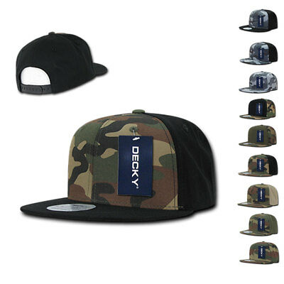 (Decky Camouflage Camo Retro Flat Bill Baseball Hats Caps Cotton Snapback)