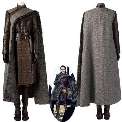 Game of Thrones Season 8 Arya Stark Cosplay Costume with Cloak Version 1