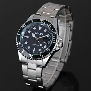 Zeiger Automatic Mechanical Mens Watches Stainless Steel Band Date Submariner
