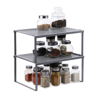 2-Tier Nesting Table Extendable Stackable Kitchen Cabinet CounterShelf Organizer