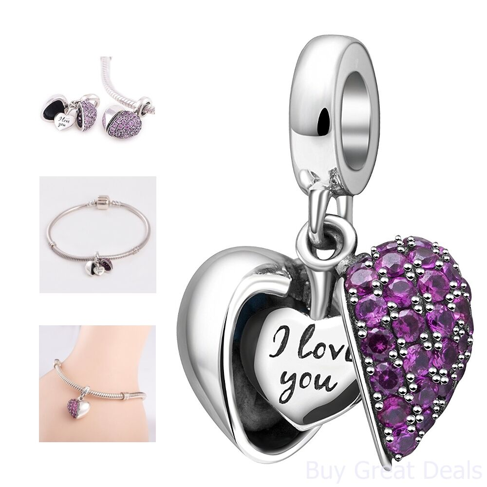 i love you sterling silver heart dangle charm pandora. Black Bedroom Furniture Sets. Home Design Ideas