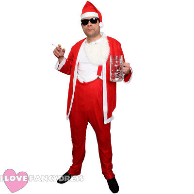 BUDGET NAUGHTY SANTA COSTUME FUNNY NOVELTY SLEAZY BAD FATHER CHRISTMAS - Bad Santa Kostüm