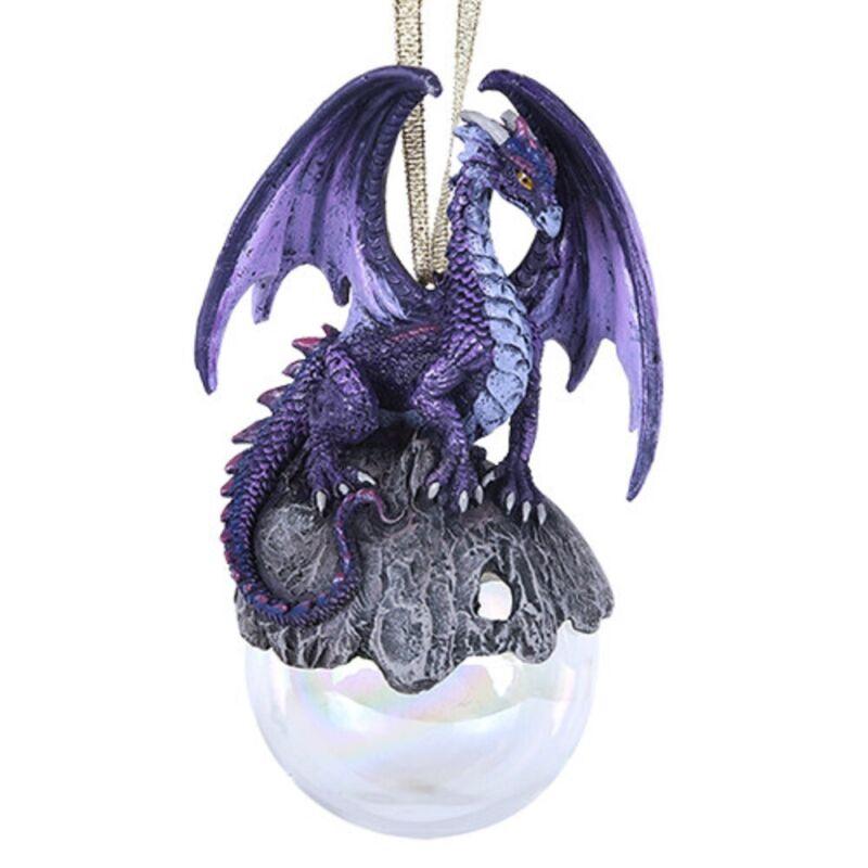 Purple Hoarfrost Dragon Christmas Tree Ornament