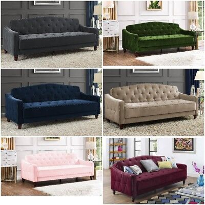Tufted Sofa Sleeper Convertible couch bed Living room furniture Velour Color NEW