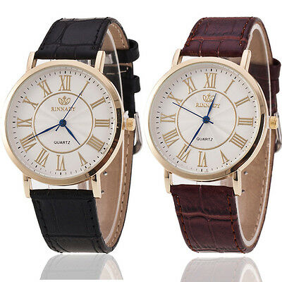 Fashion Round Case Leather Men's Watch Stainless Steel Date Wrist Man Watches