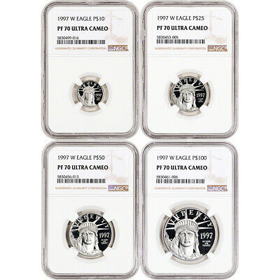 1997 W American Platinum Eagle Proof Four Coin Set NGC PF70 UCAM