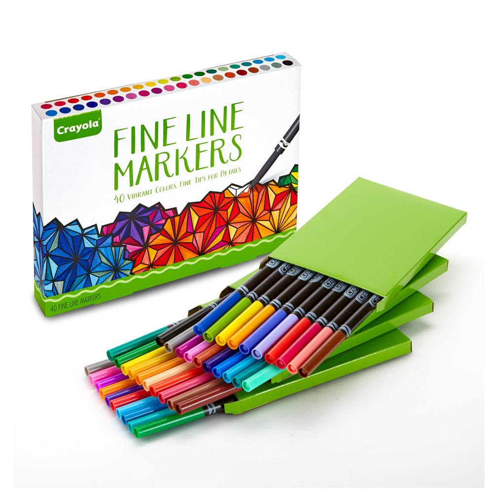 Crayola Fine Line Markers 40 Count Assorted Colors Adult Coloring ...